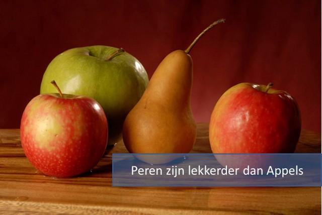 Peren zijn lekkerder dan appels